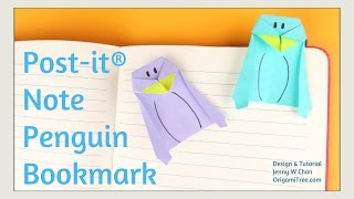 Origami Bookmark - Origami Penguin Bookmark - Post-it® Note Crafts - Easy Paper Crafts for Kids