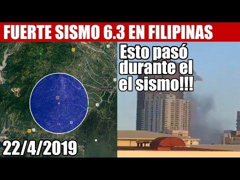 ULTIMA HORA, FUERTE SISMO 6.3 GOLPEA FILIPINAS y más información 22/4/2019
