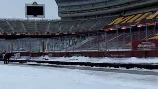 Hockey City Classic player walk to TCF Bank Stadium Ice Rink