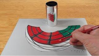 Rubik's Cube Anamorphosis - 3D Trick Art on Paper