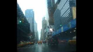 Driving In a Rainy Day in Manhattan, New York City