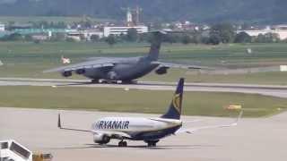 US Air Force Lockheed C-5B Galaxy takeoff at Stuttgart, (STR/EDDS)