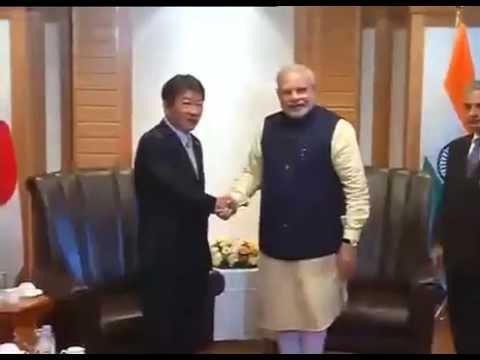 PM Modi meets Minister of Economy, Trade & Industry, Toshimitsu Motegi, in Tokyo