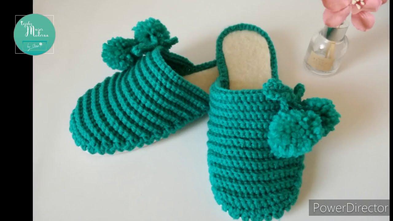PANTUFLAS CON SUELA // Tejidas a Crochet