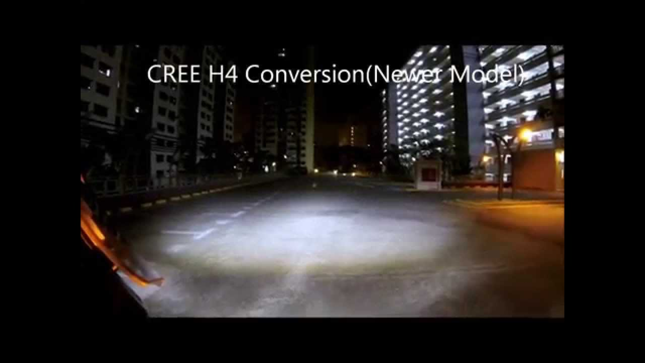 H4 CREE LED VS High End Halogen Headlight Comparison on a ...