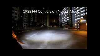 h4 cree led vs high end halogen headlight comparison on a motorcycle