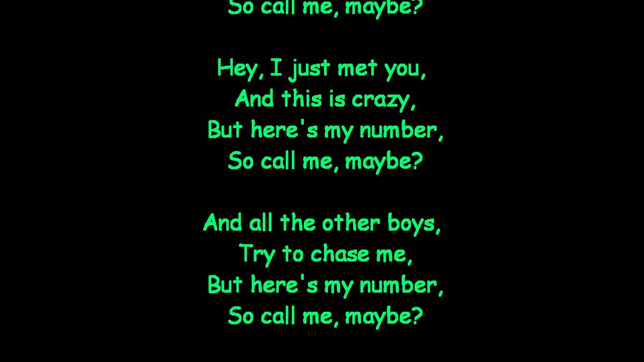 Call me maybe mattyb lyrics