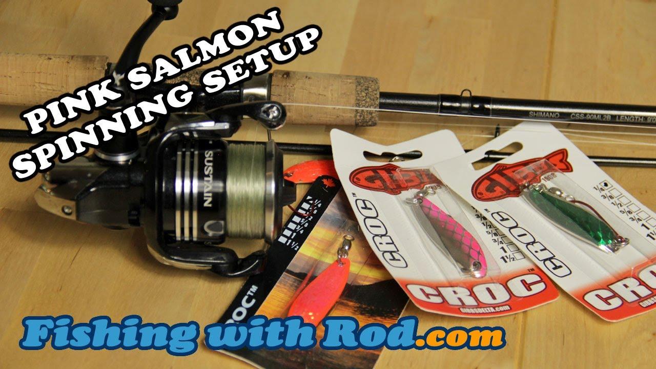 How to fish pink salmon spinning setup youtube for Salmon fishing tackle setup