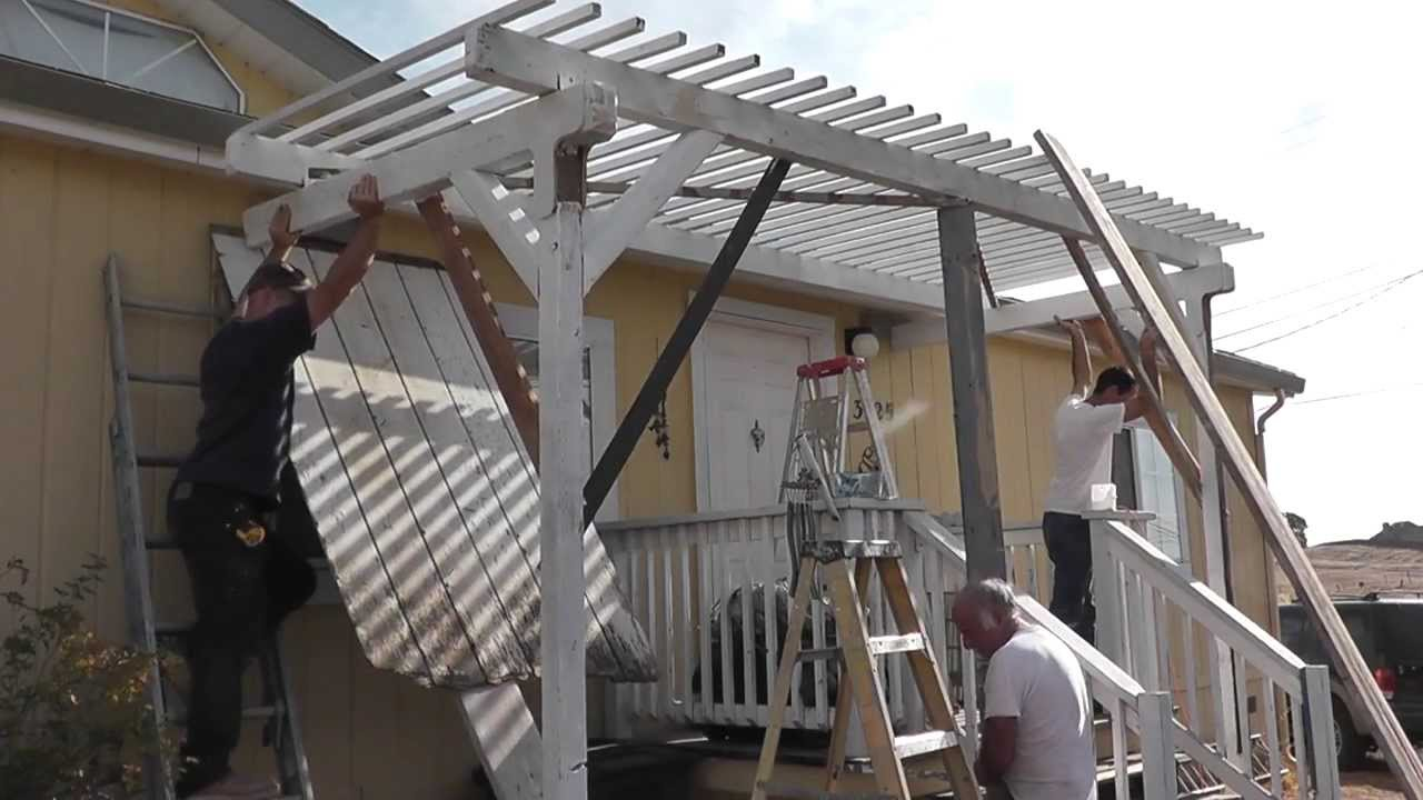 Setting Up A Trellis Pergola Porch Roof Shade