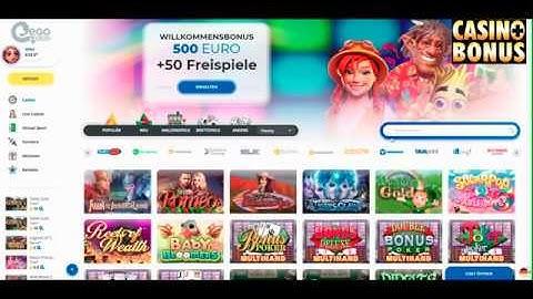 Casino Test -  Ego Casino Bonus - mit 20 Freispielen ohne Einzahlung