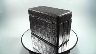 Vintage Art Deco Embossed Leather   Wood Folding Cigarette Box Case Cherubs 1