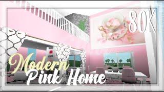 ROBLOX | Welcome To Bloxburg: 80k Modern Cheap Pink Home | Tour + Speedbuild + Screenies