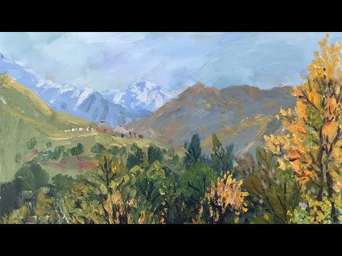 Oil painting landscape,How to paint a snow mountain perfectly =如何完美的画好雪山【父子画廊】第14期 (2020)