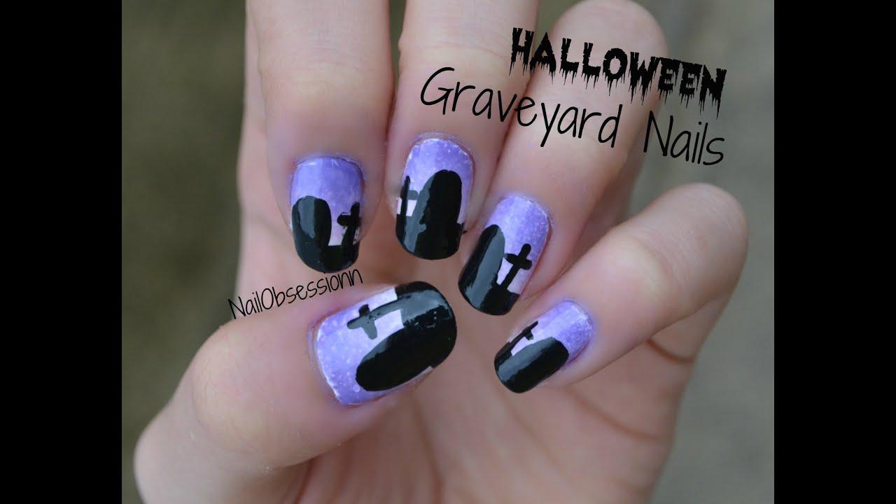 HALLOWEEN Graveyard Nails! - YouTube