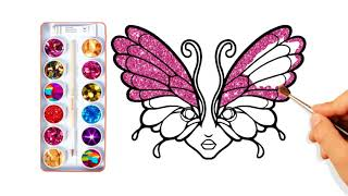 Glitter BUTTERFLY Wallpaper Coloring Pages How to Draw Butterfly for Kids  Learn Colors for Children