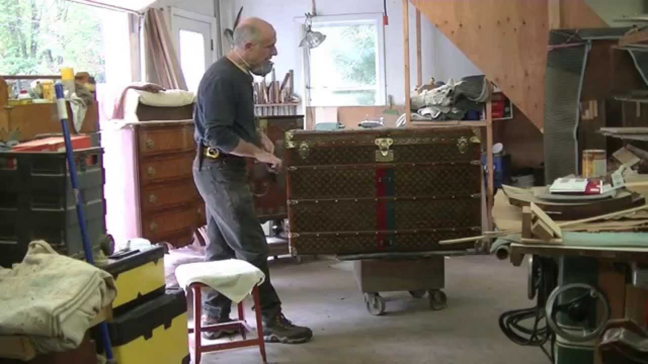 Restoring An Antique Louis Vuitton Steamer Trunk   Thomas Johnson Antique Furniture  Restoration   YouTube