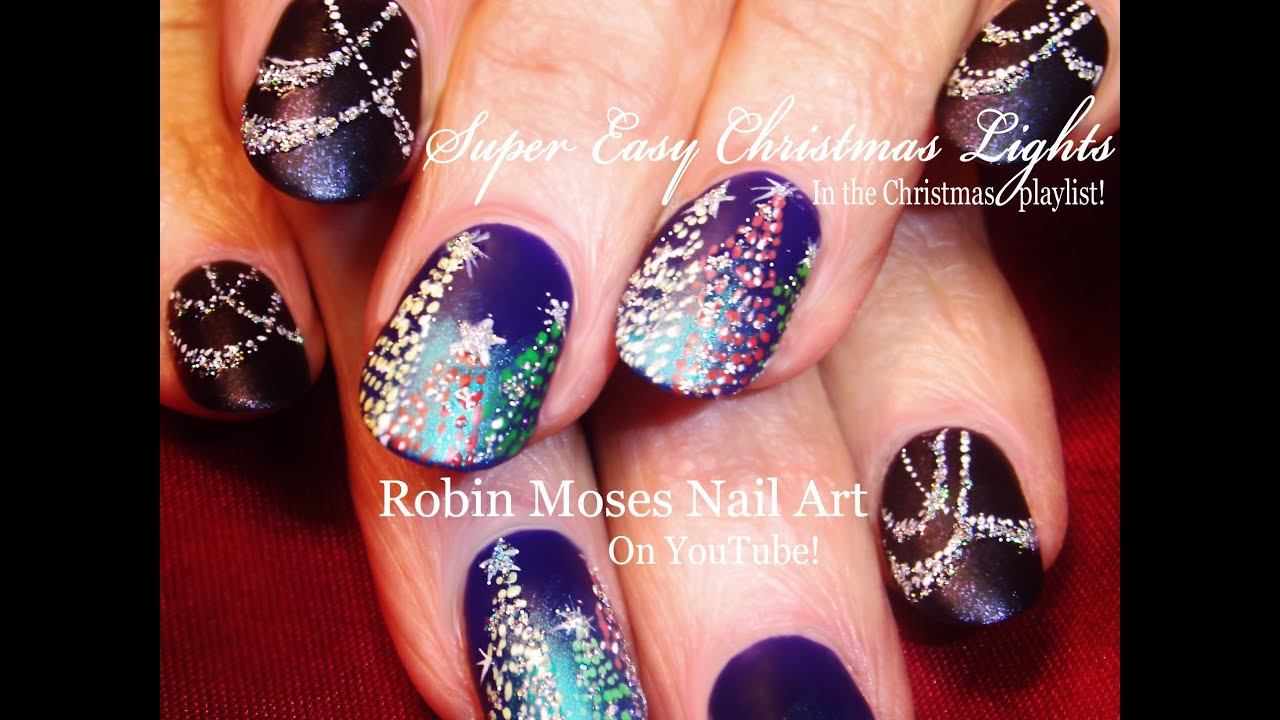 Easy Sparkle Draped Swag Xmas Lights Nail Art | DIY Christmas Tree ...
