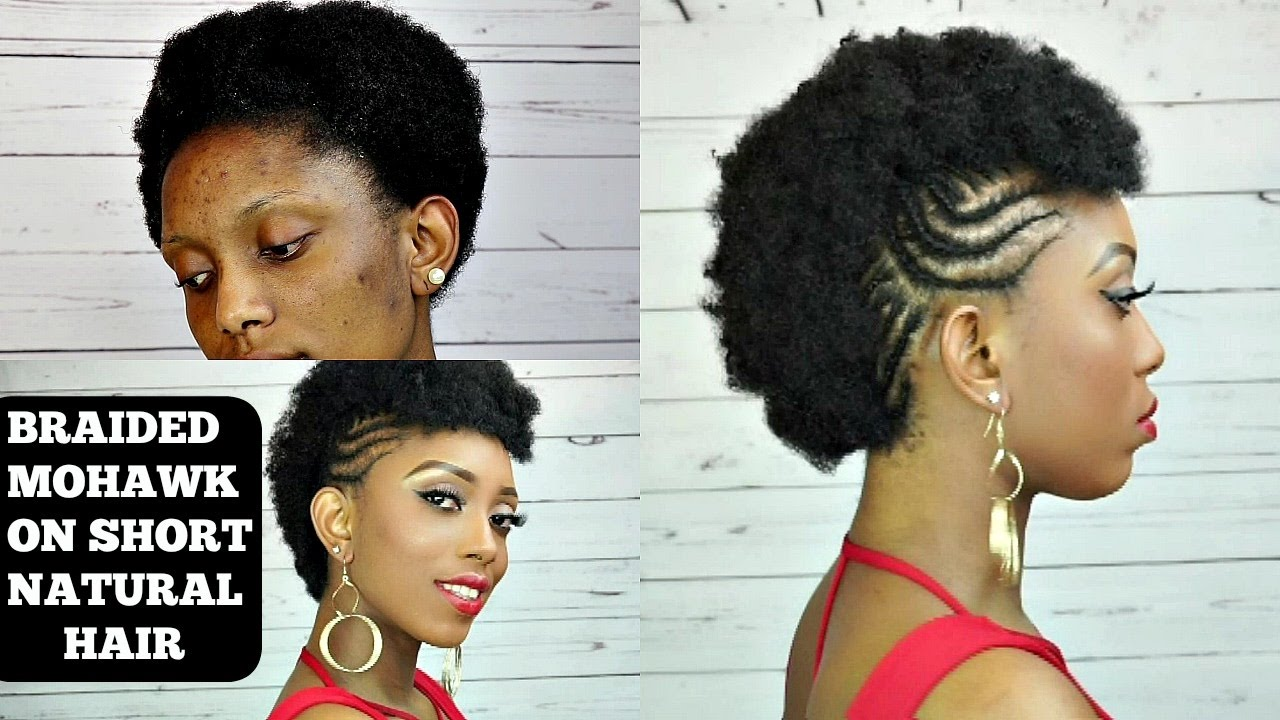 How To Braided Mohawk Tutorial On Short Natural Hair - YouTube