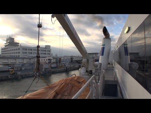2015/12/01 佐渡汽船 高速カーフェリー あかね船上から新潟港入港接岸を撮ってみた