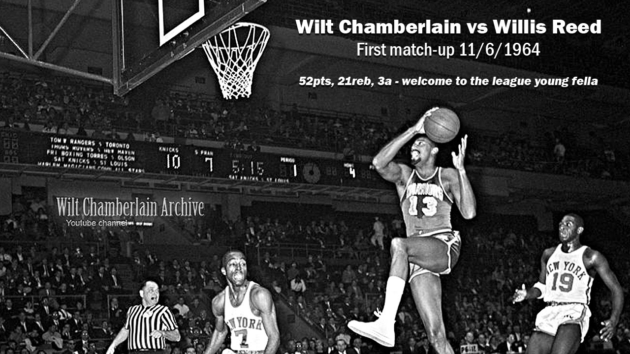 Wilt Chamberlain baptizes rookie Willis Reed with 52 points 21