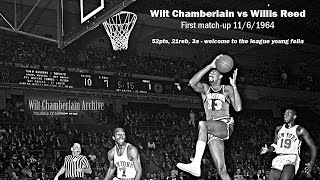 Wilt Chamberlain baptizes rookie Willis Reed with 52 points, 21 rebounds (10/6/1964)