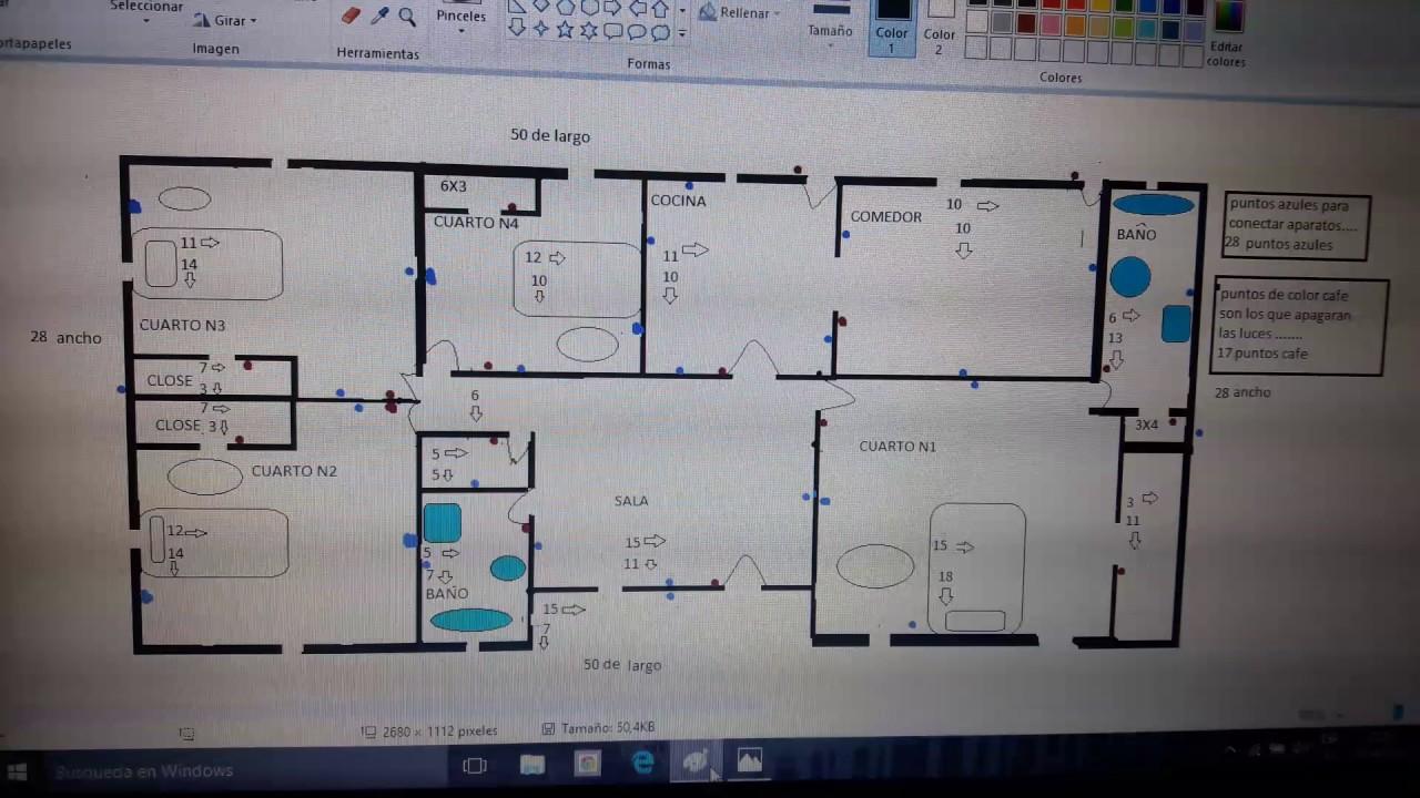 Un plano para caza de 4 cuartos sala cosina comedor y 2 baños - YouTube