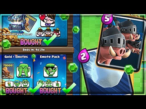 BUYING THE UPDATE!! :: Clash Royale Royal Hog + Snowball + EMOTES!!