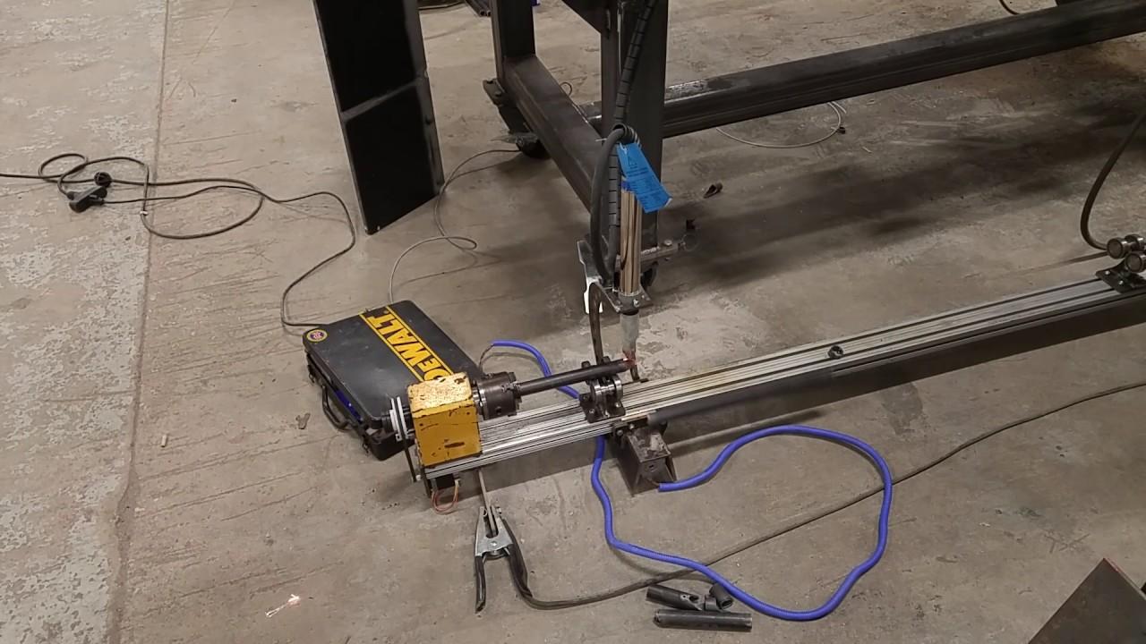 Plasma Cutting Chassis Tube On Homemade Notcher Youtube