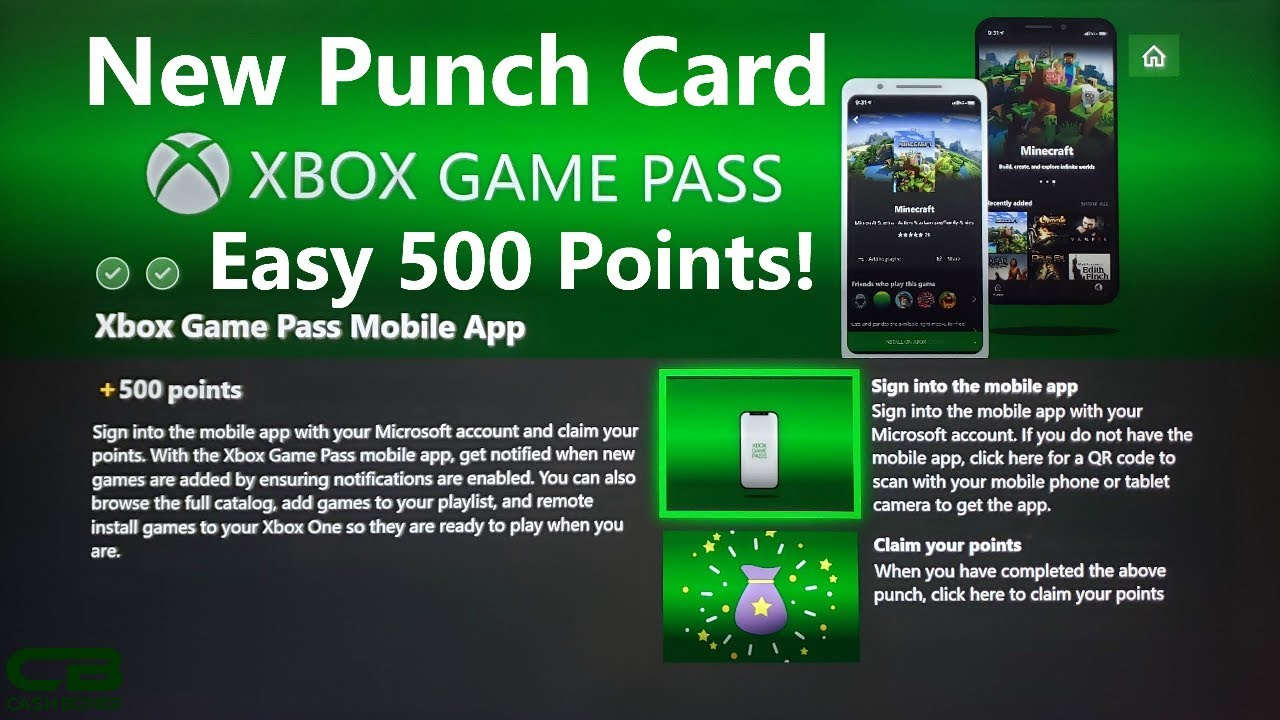 Xbox Game Pass Mobile App Punch Card - 500 Microsoft Rewards Points in a  Few Minutes!
