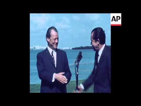SYND 30 12 71 WEST GERMAN CHANCELLOR WILLY BRANDT MEETS PRESIDENT NIXON