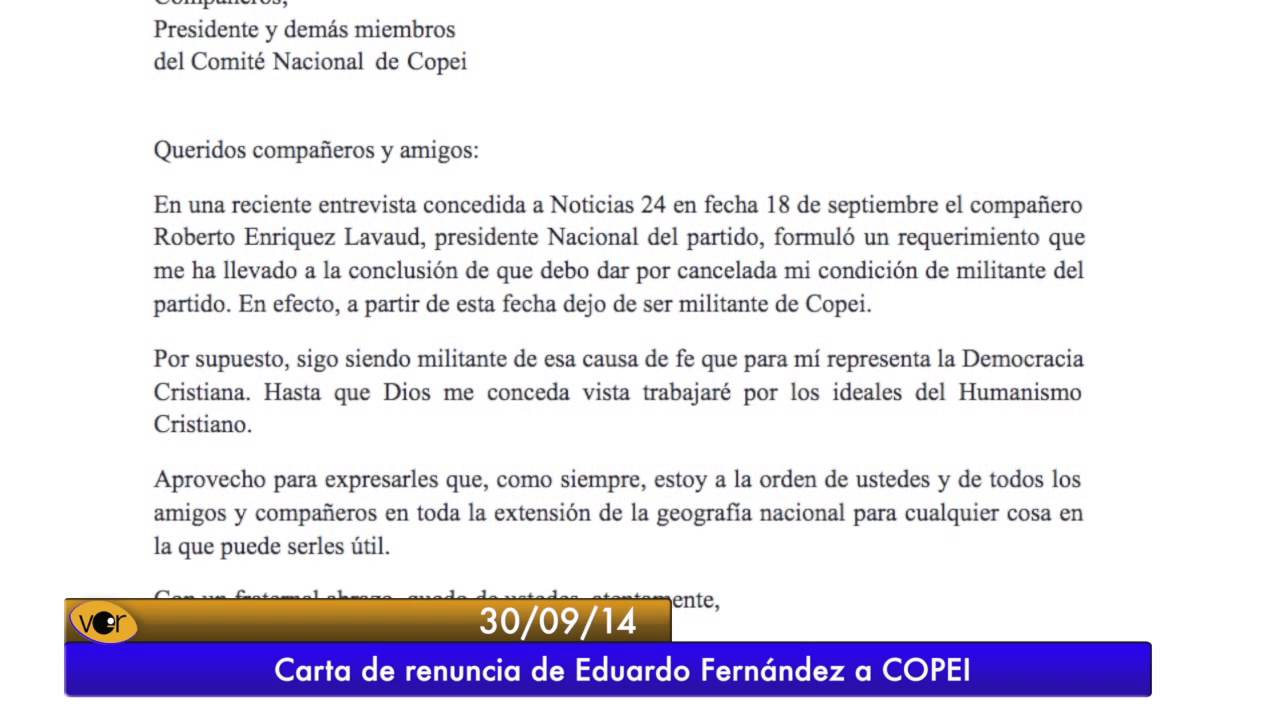 Carta de renuncia de Eduardo Fernández a Copei - YouTube