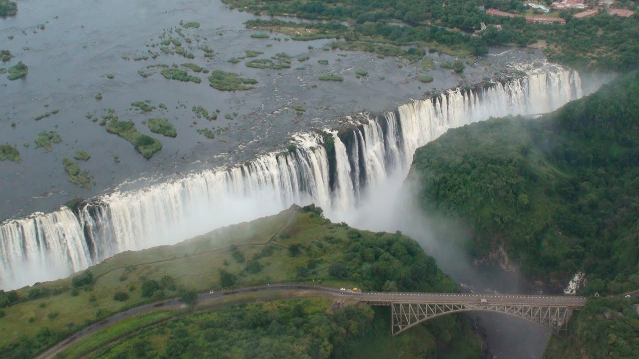 Falling Star Wallpaper Hd Victoria Falls Helicopter Aerial View Zambia