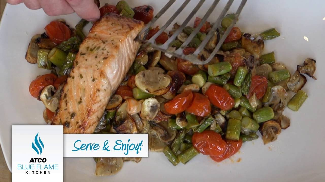 Atco Blue Flame Kitchen Roasted Salmon With Asparagus Grape Tomatoes And Mushrooms Youtube