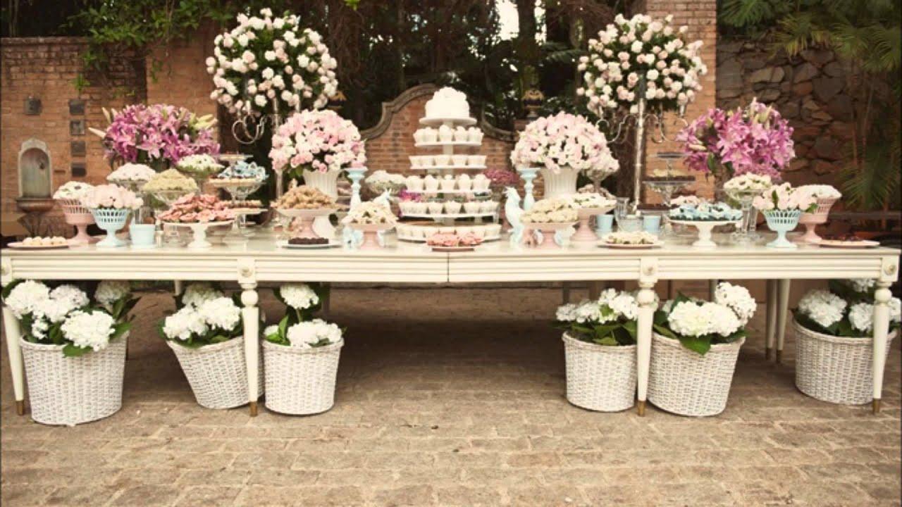 Mesas de bolo de casamento Rosa e Branco YouTube -> Decoração De Mesa Do Bolo Para Casamento Simples