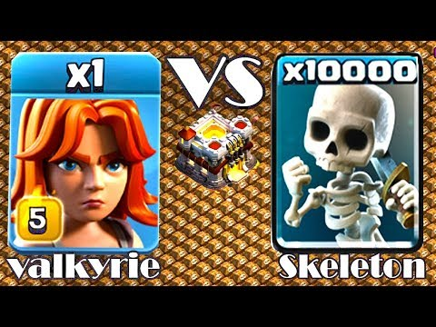 1 Max Valkyrie VS 10000 Skeleton Army Incridible Funny Attack On Clash Of Clans