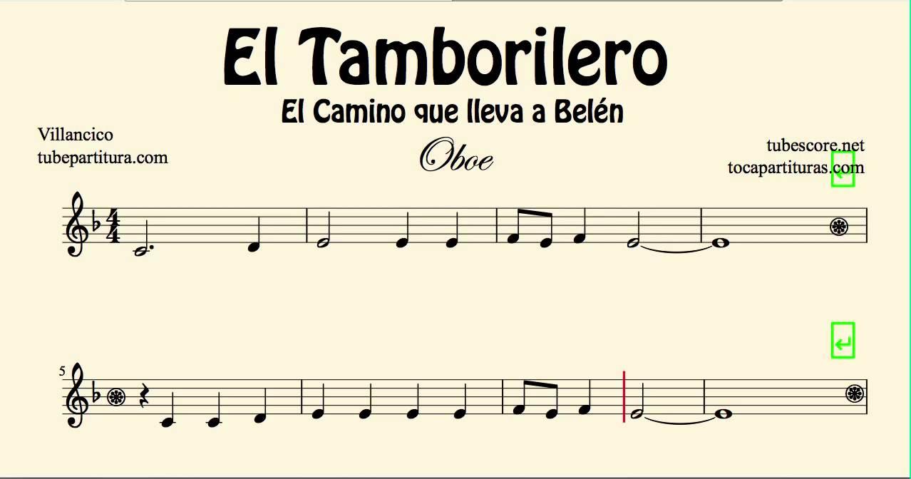 El tamborilero partitura de oboe el camino que lleva a for Piano anteriore del camino