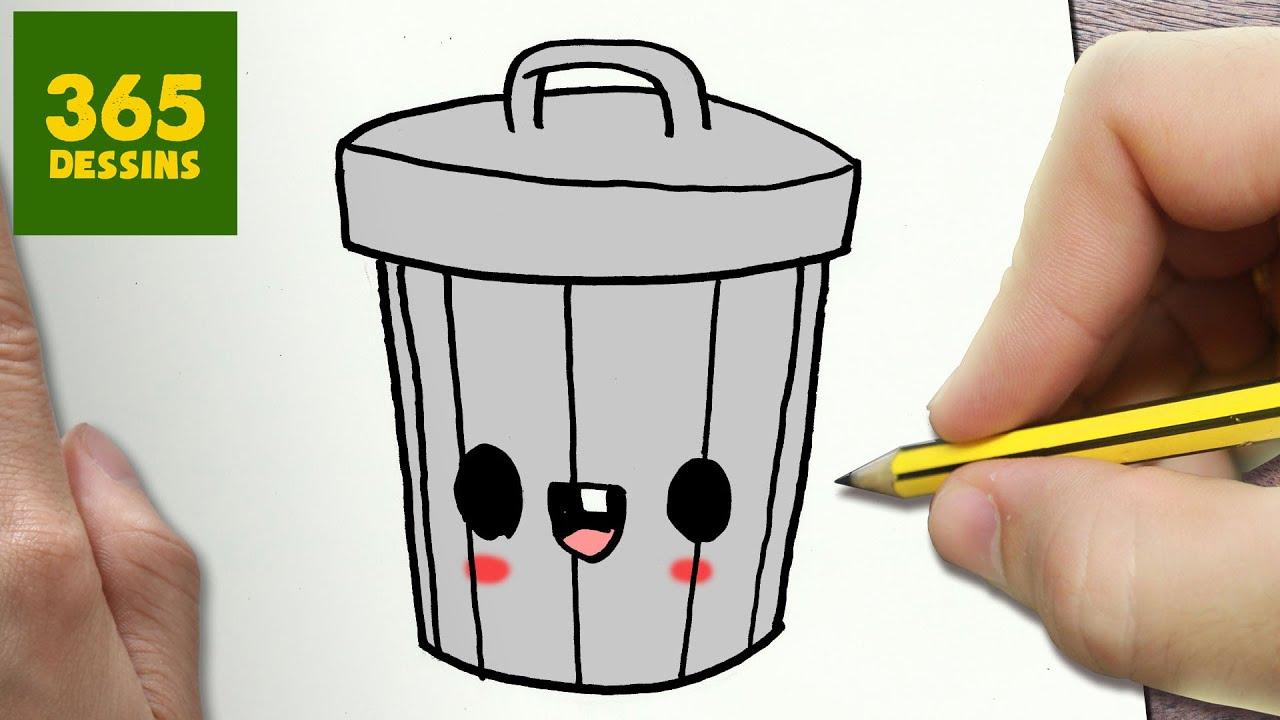 Comment dessiner la poubelle kawaii tape par tape dessins kawaii facile youtube - Dessin de poubelle ...
