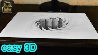 Простой 3D рисунок за 5 минут Иллюзия Дыра   3d drawing illusion Hole
