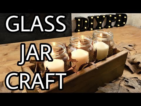 Glass Jars Candle Holders in a Wooden Box-Mason Jars Centerpiece | DIY Decor Idea