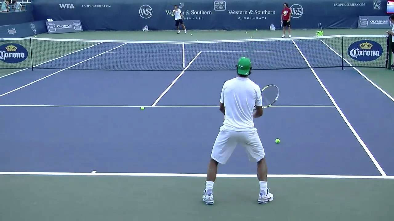 Rafael Nadal Backhand Drill in HD Back View - YouTube