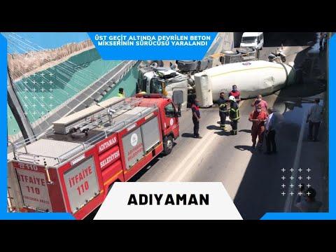 Üst geçit altında devrilen beton mikserinin sürücüsü yaralandı