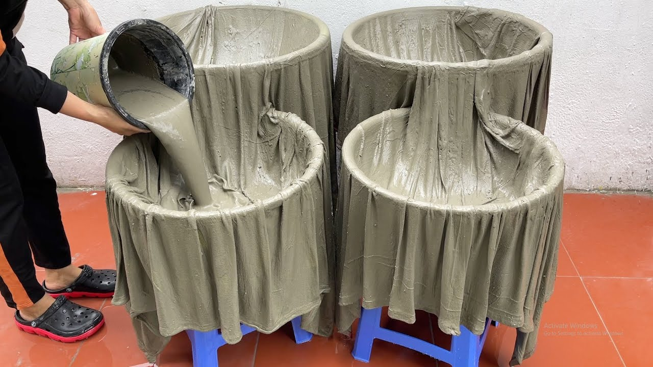 WOW ,  Amazing Ideas From Cloth And Cement . How to Build A Beautiful Waterfall Aquarium Very Easy .