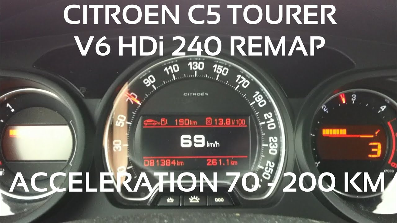 acceleration citro n c5 tourer v6 hdi 240 remap 70 200 km h youtube. Black Bedroom Furniture Sets. Home Design Ideas