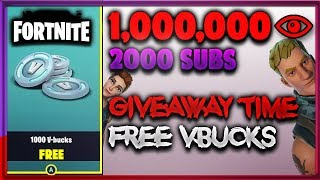 1M Views & 2k Subs / 1000 FREE VBUCKS FORTNITE GIVEAWAY (Channel Update)