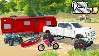 RICH REDNECK CAMPING WITH $150,000 ANYLEVEL F350! | (ROLEPLAY) FARMING SIMULATOR 2019