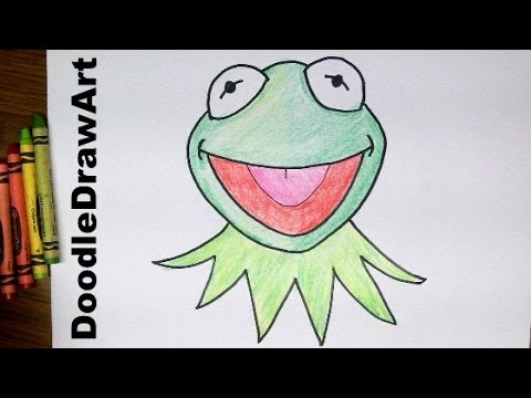 drawing:-how-to-draw-kermit-the-frog's-face---muppets---step-by-step-drawing-tutorial