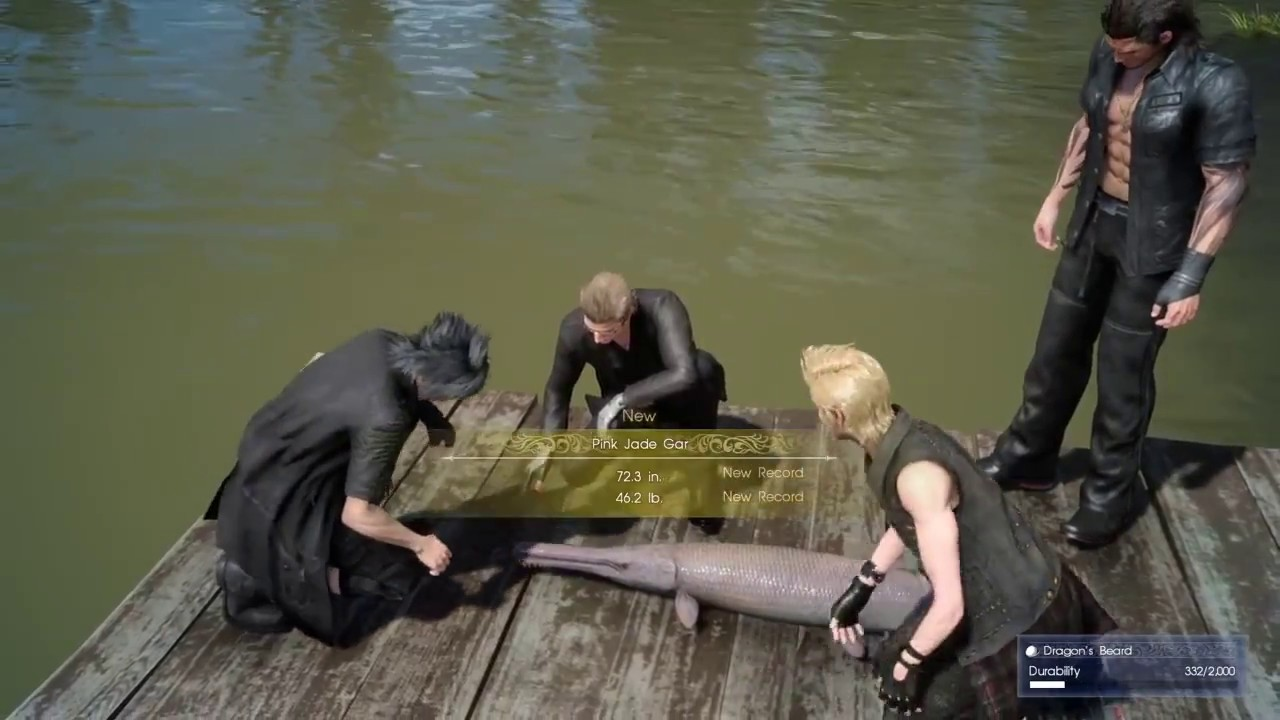 final fantasy xv fishing a pink jade gar at daurell