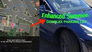 Tesla Enhanced Smart Summon    Complex Parking Lot Pickup with Model 3