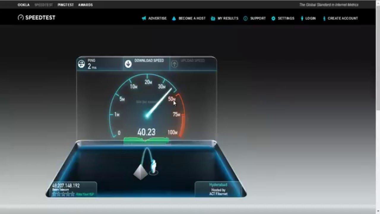 act fibernet 40 mbps plan speedtest youtube