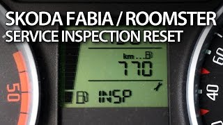 How to reset INSP service reminder in Skoda Roomster & Fabia II (maintenance inspection)